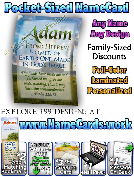 PC-TR10, Name Meaning Card, Wallet Sized, with Bible Verse, personalized, Adam tree green