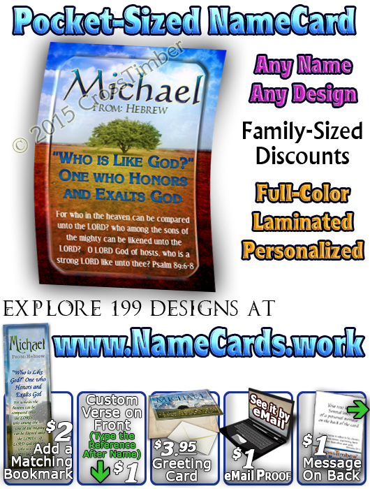 PC-TR13, Name Meaning Card, Wallet Sized, with Bible Verse, personalized, lone tree integrity, michael