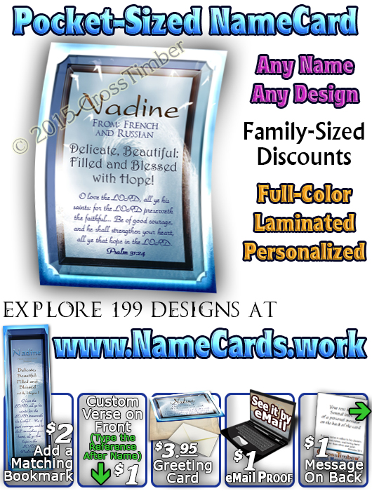 PC-WA10, Name Meaning Card, Wallet Sized, with Bible Verse, personalized, tidal wave artwork art wave nadine