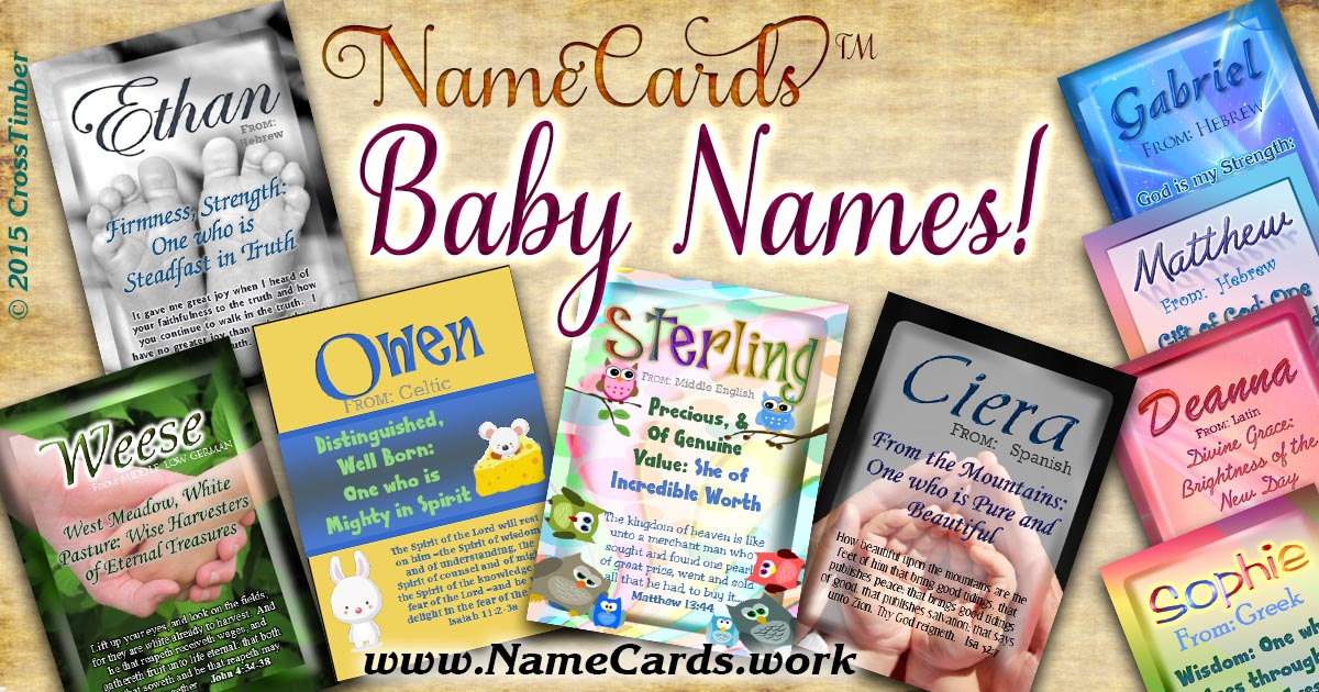 Adorable personalized cards for baby names and name meanings!