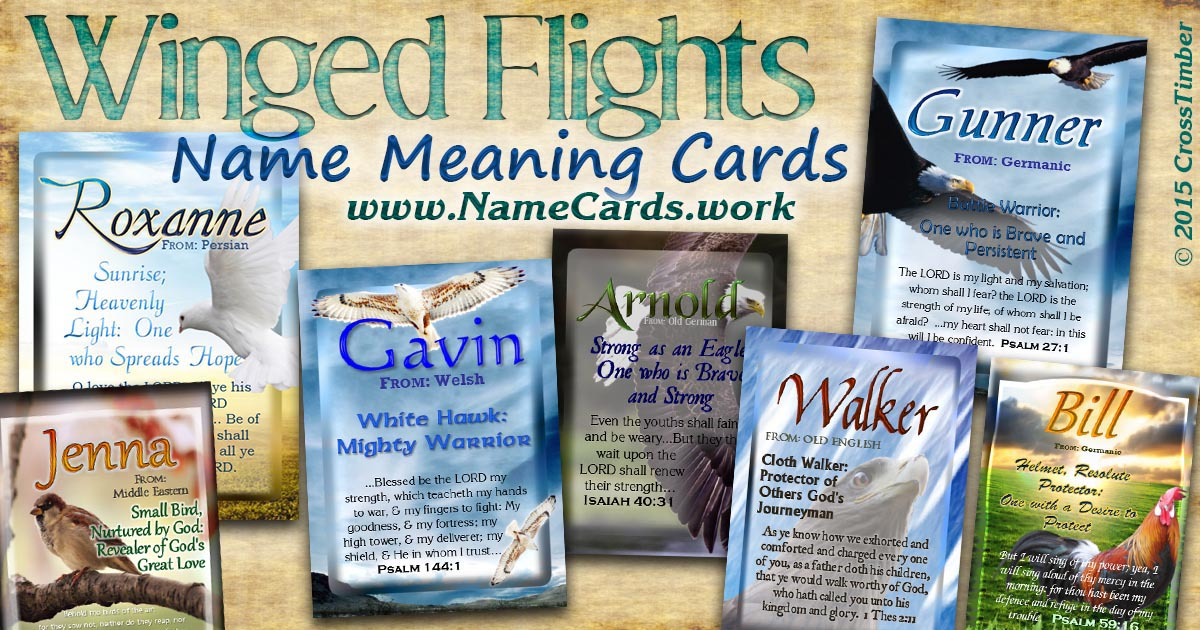 Eagles, Doves, Hawks, Sparrow, Chicken: all on name meaning personalized cards