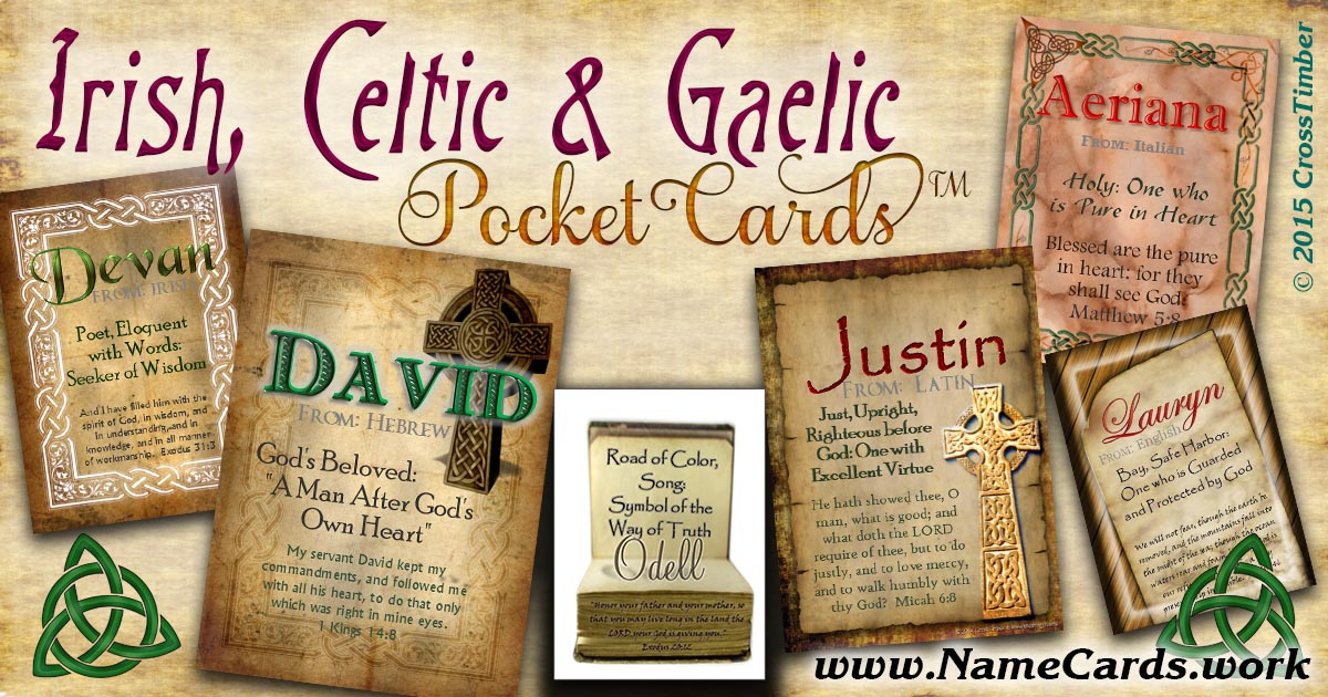 Name meaning cards with Celtic, Irish and Gaelic backgrounds
