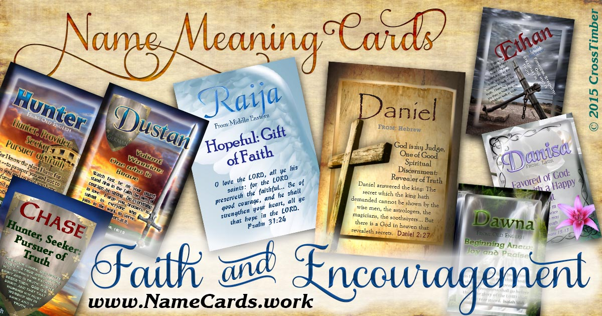 Symbols of faith and encouragement on name meaning cards