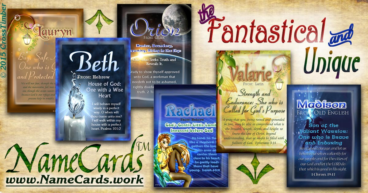 Unique Fantasy backgrounds on name meaning pocket cards