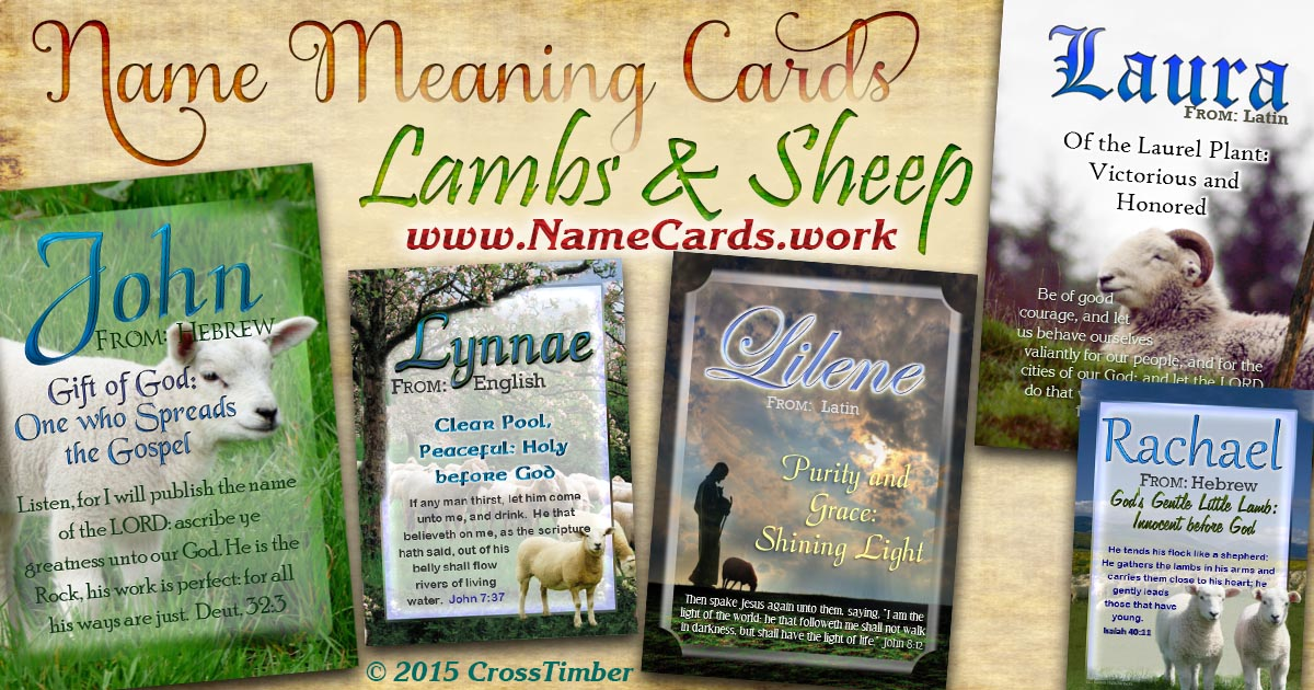 Christian name meaning cards with bible verses and sheep, lamb and shepherd backgrounds